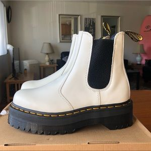 Doc Marten White Chelsea Quad Boots